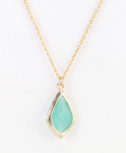Diamond Droplet Necklace in mint