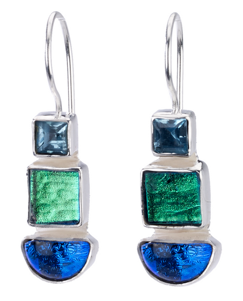 Dichroic Glass Triple Earrings