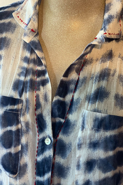 Dolma Button-Up Collared Shirt Shibori Dye