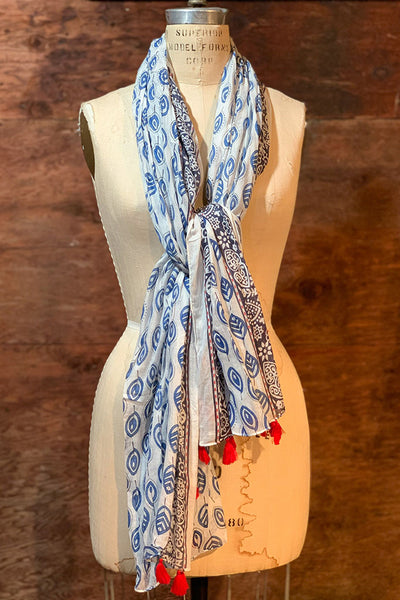 Scarves - Dolma Cotton Handwoven Scarf in Navy - Girl Intuitive - Dolma -