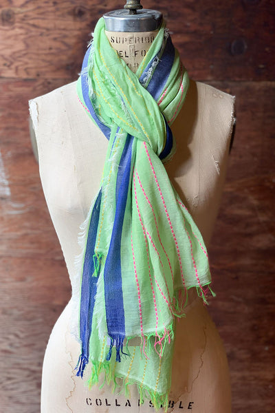 Scarves - Dolma Cotton Scarf with Contrasting Stitching - Girl Intuitive - Dolma - Green/Blue/Pink