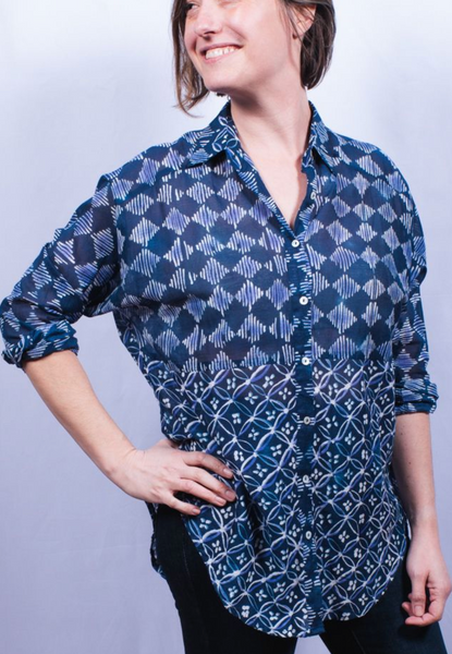 Dolma Cotton Shirt Navy Print
