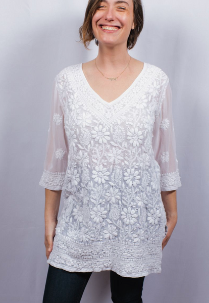Dolma Embroidered Kurta Top White
