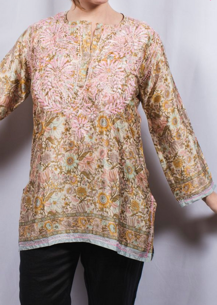 Dolma Silk Embroidered Tunic Rose Pink