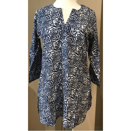 Dolma Cotton Tunic Top Navy Rose