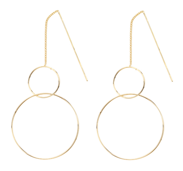 Double Hoop Thread Earrings gold