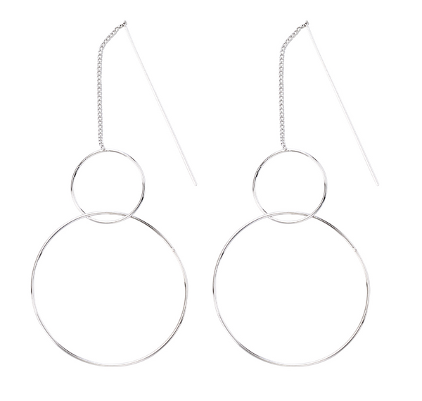 Double Hoop Thread Earrings silver