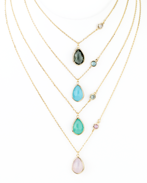 Double Teardrop Pendant Necklace in Trendy Colors