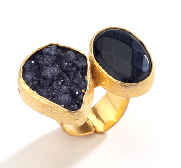 Druzy and Agate Stone Ring black