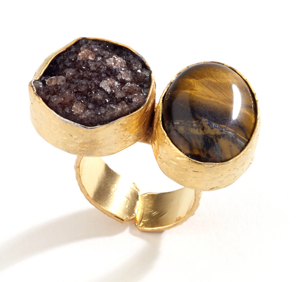Druzy and Agate Stone Ring brown