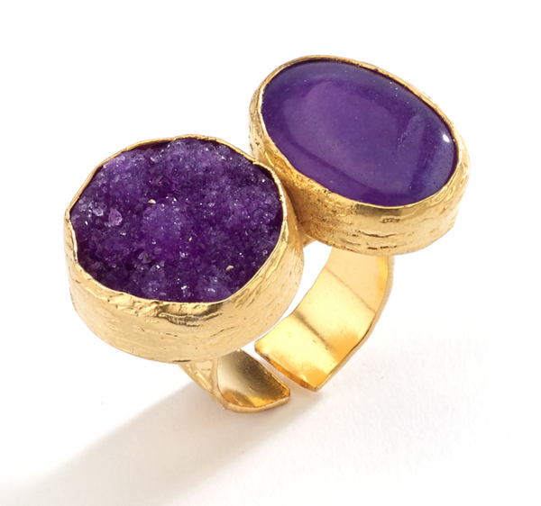 Druzy and Agate Stone Ring purple