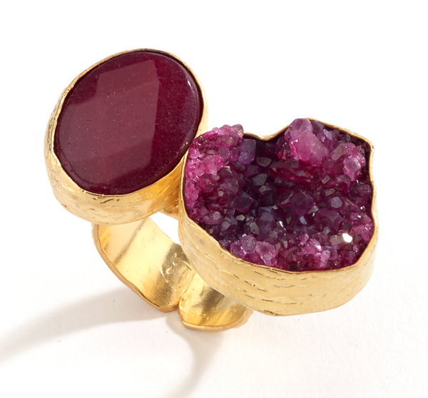 Druzy and Agate Stone Ring red