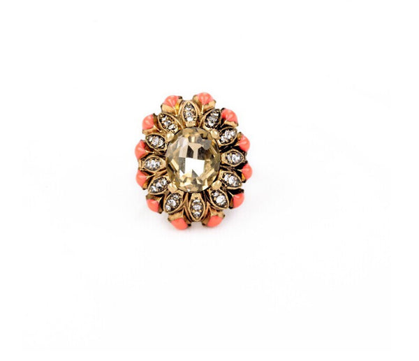 Elaborate Coral Flower Ring front