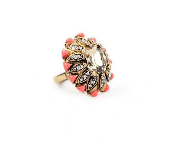 Elaborate Coral Flower Ring side