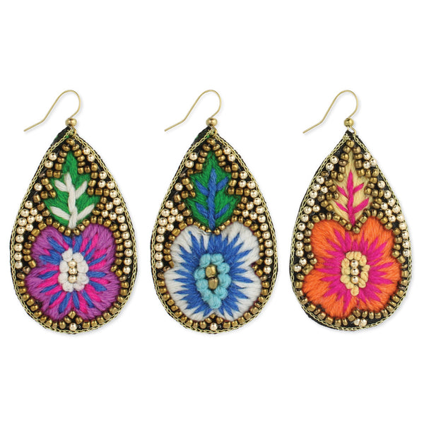 Embroidered Flower Teardrop Earring