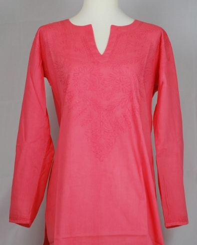 Embroidered Brandy Kurti in Coral
