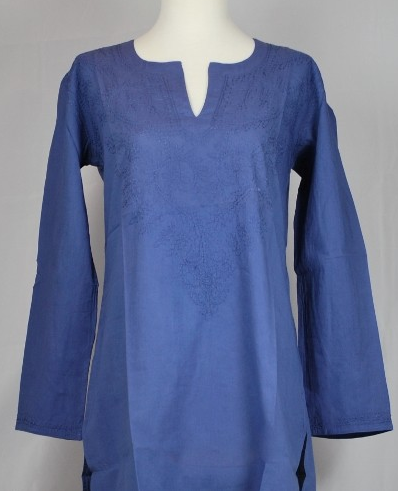 Embroidered Brandy Kurti in Navy