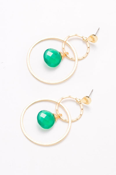 Emerald Drop Double Hoop Earrings