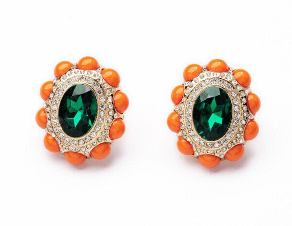 Emerald Center Clip-On Earrings