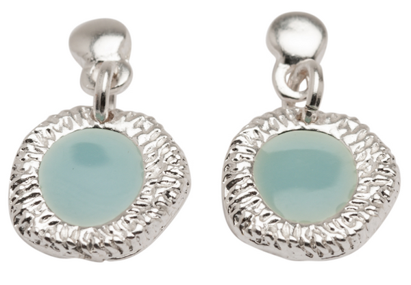 Enamel Drop Earrings aqua