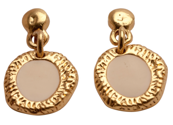 Enamel Drop Earrings beige