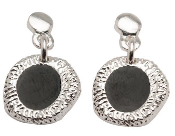 Enamel Drop Earrings black