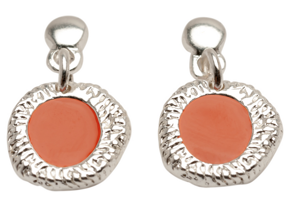 Enamel Drop Earrings coral