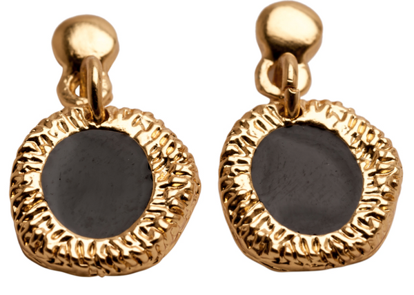 Enamel Drop Earrings gold black