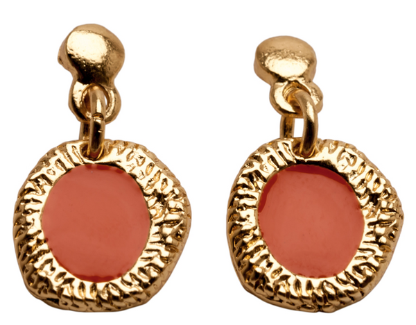 Enamel Drop Earrings gold coral