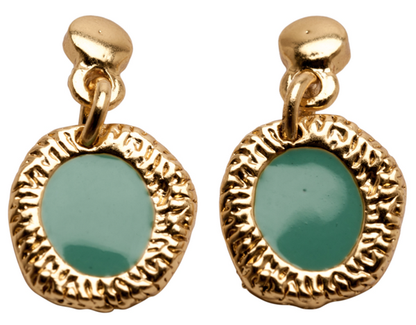 Enamel Drop Earrings green