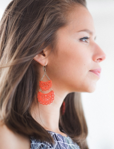 Etched Crescent Earrings Coral m