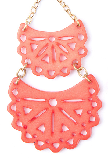 Etched Crescent Earrings Coral z