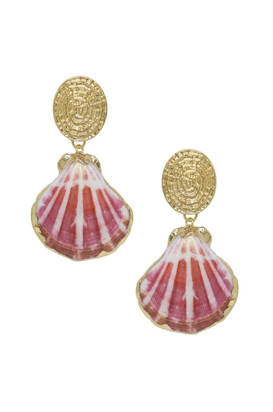 Ettika Hot Spot Pinky Shell Gold Earrings
