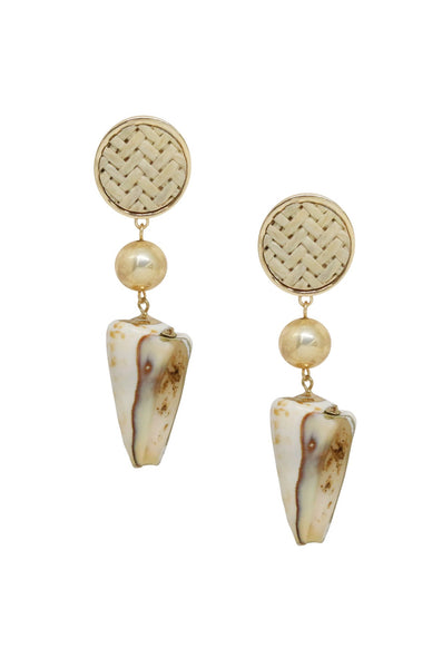Ettika Nautical Nature Shell Earrings in Cream