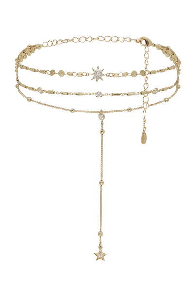 Ettika Forever Star Fall Multi-Chain Choker in Gold