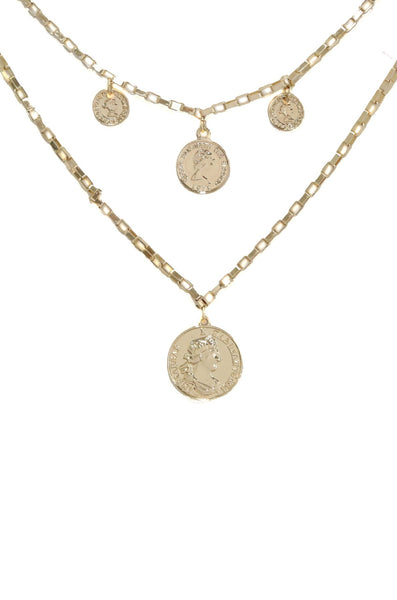 Ettika Spare Change Layered Coin Necklace in Gold
