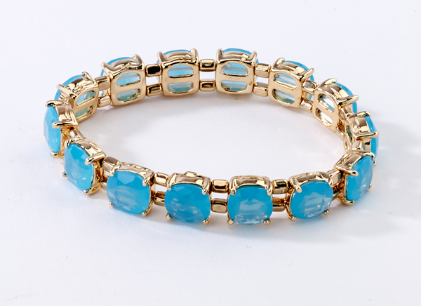 Faceted Stretch Bracelets aqua