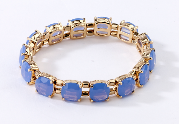 Faceted Stretch Bracelets blue