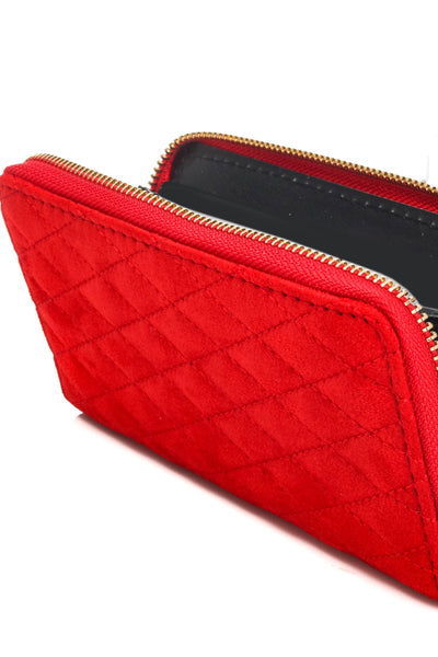 Faux Suede Quilted Zipper Wallet