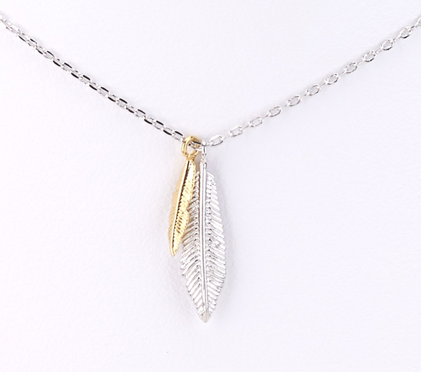 Feather Charms Delicate Necklace silver