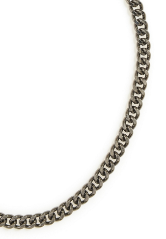 Flat Chain Necklace in Hematite