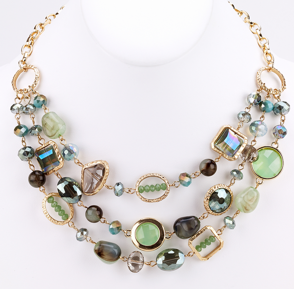 Floating Beads and Stones Necklace - Green