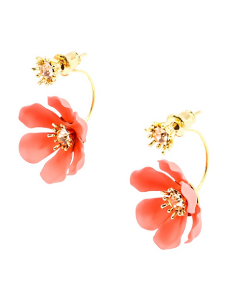 Flower Party Floating Earrings coral