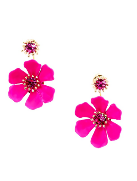 Flower Party Floating Earrings fuchsia