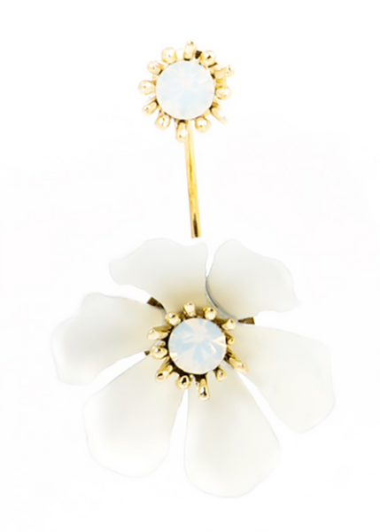 Flower Party Floating Earrings white