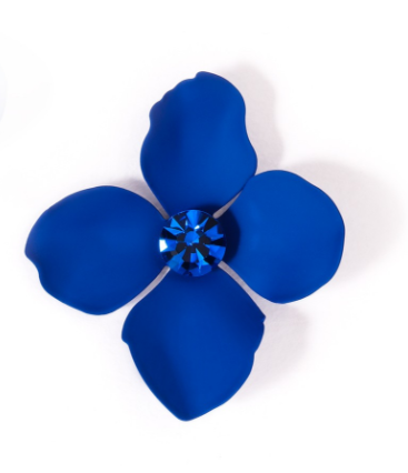 Flower Statement Earrings cobalt