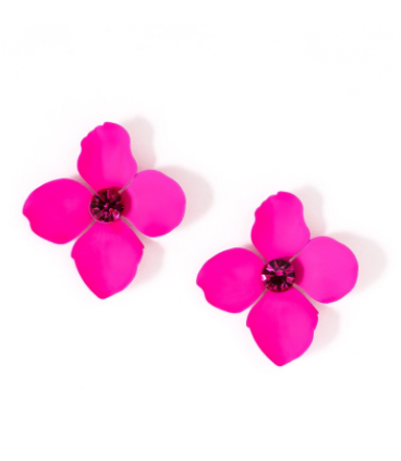 Flower Statement Earrings fuchsia