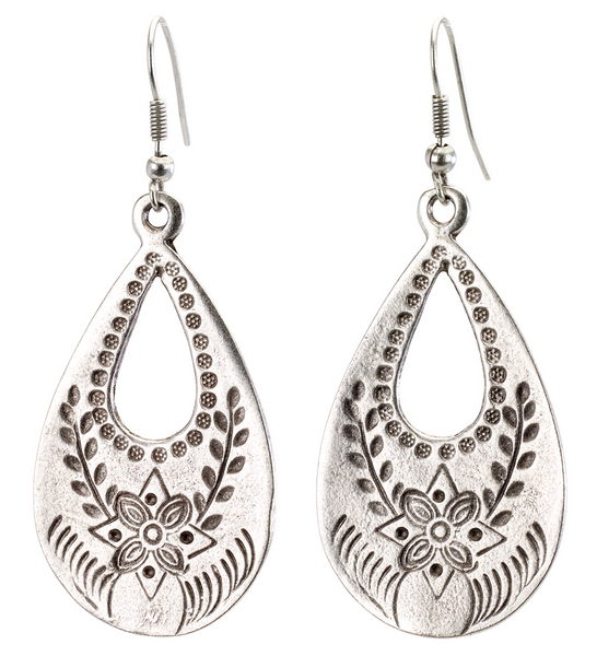 Flower Etched Art Teardrop Earrings