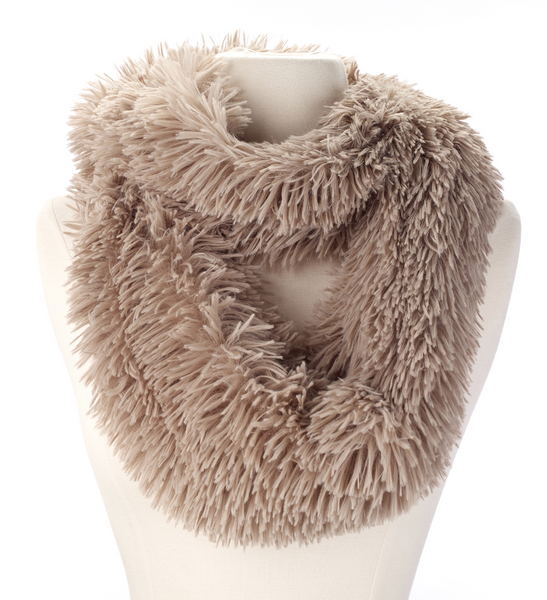Fluffy Faux Fur Infinity Scarf taupe