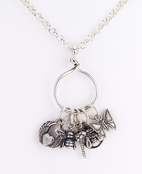 Flying Insect Cluster Charm Long Necklace
